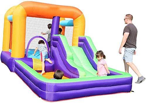 Opblaasbaar kasteel Kinderen Trampoline Glijbaan Combinatie Binnen Buiten Speeltuin Klein Ondeugend Kasteel 210X205x200cm(Upgrade)