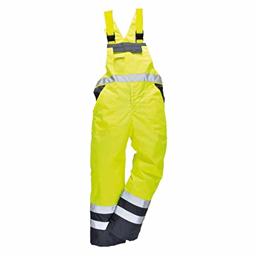 Men's Workwear 100% Polyester Waterproof Contrast Bib N Brace Ulined Dungarees Ideal for Work Fish Boat Sail (Large  Waist To Fit 36-38, Yellow/Navy)