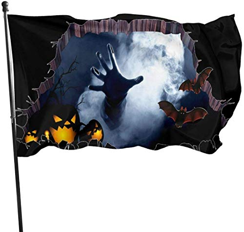 jhin Dekorative Fahnen Halloween 3D Bat Hand Arm Pumpkin Zombie Themed Welcome Party Outdoor Outside Decorations Ornament Picks Home Garden Decor 3 X 5 Ft