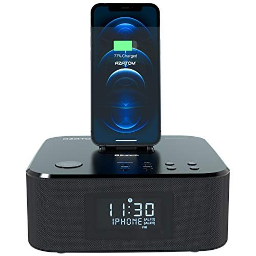 AZATOM Homehub Clock Radio Alarm FM Bluetooth speaker 30W Lightning Docking station for iPhone Xs Max, Xs, Xr, X, 8, 8 plus, 7plus, 7, 6s, 6, 5s, 5, SE Nano 7G, Touch 6G 5G, iPad mini BLACK