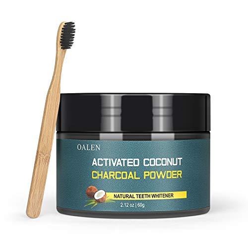 Zahnaufhellung Zähne Pulver,Natürliche Kokosnuss Aktivkohle Zahnpulver für Frischen Sie den Atem und entfernen Sie schnell Zahnstein/Zahnflecken