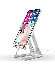 スマホスタンド ホルダーアルミ 角度調整可能 iphone スタンド 充電可能 持ち運びやすい, 旅行用 置台, アイフォン 立て デスク 置き台,「4~10インチ対応」 iPhone, iPad, Samsung Galaxy, Sony, Nexus - 銀