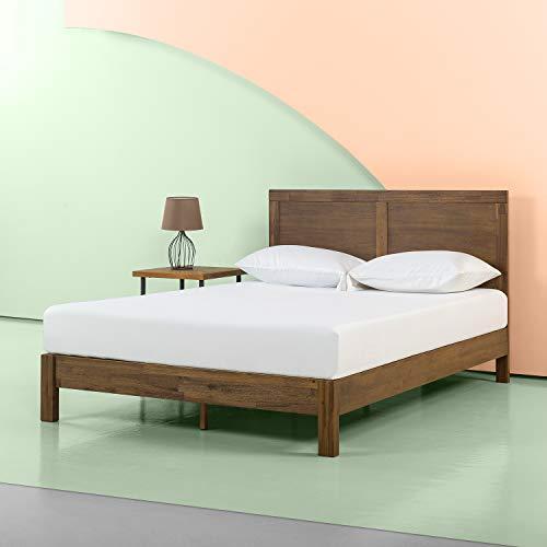 Zinus 12 Inch Acacia Wood Platform Bed with Headboard / No Boxspring Needed / Wood slat, Twin
