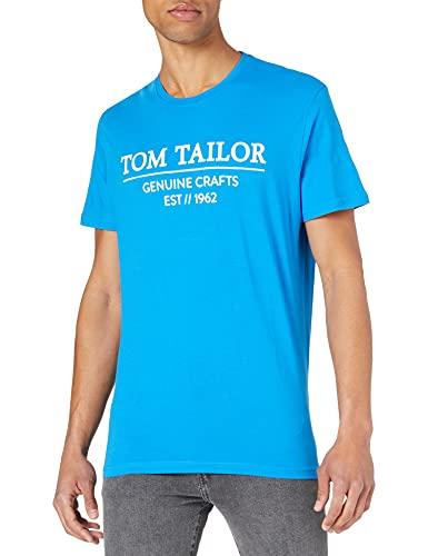 Tom Tailor 1021229 Basic Logo Camiseta, Bright Ibiza Blue 26178-Juego de Mesa,...