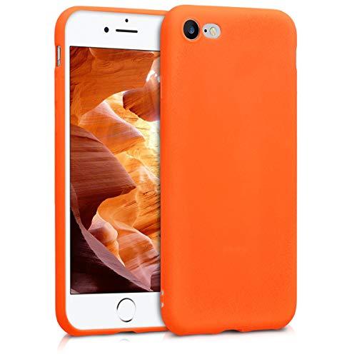 kwmobile Custodia Compatibile con Apple iPhone 7/8 / SE (2020) - Cover in Silicone TPU - Back Case per Smartphone - Protezione Gommata Arancione Fluorescente