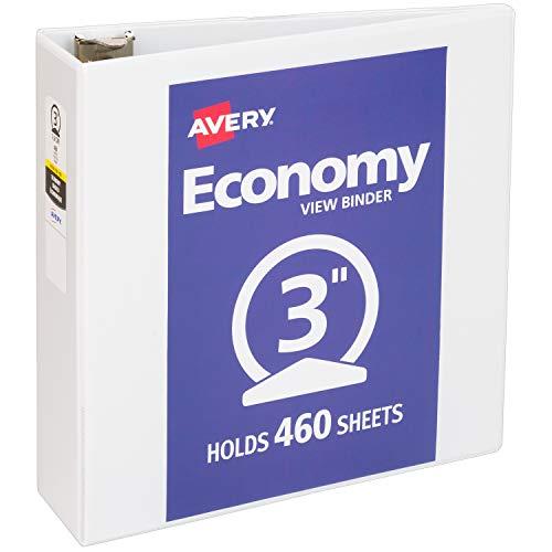 "Avery 3"" Economy View 3 Ring Binder, Round Ring, Holds 8.5"" x 11"" Paper, 1 White Binder (5741)"
