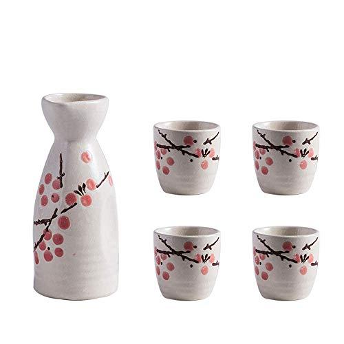 Juego de vino para el hogar, juego de 5 piezas de sake, juego de copas de vino japonesas, diseño pintoresco de flor de ciruelo bajo vidriado, incluye 1 olla de sake, 4 tazas de sake, para sake frío /