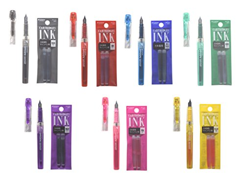 Platinum Preppy Fountain Pen (Fine Point 03) 7 Color with Ink Cartridge Set