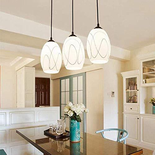 Moderne plafondlamp hanglampen, ronde hanglamp van glas voor de eettafel, witte E27 3-pits kroonluchter met hangende verlichting voor eetkamer, slaapkamer en woonkamer, A