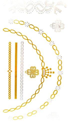 Oh My Shop - GHM16 - Planche Tattoo Tatouage Ephémère Temporaire Métallique Body Art Colliers Bracelets - Argent/Or