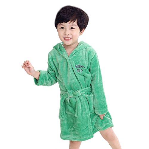 Icegrey Enfants Peignoir de Bain avec Poches pour Fille et Garçon Vert 4-5 Ans 10