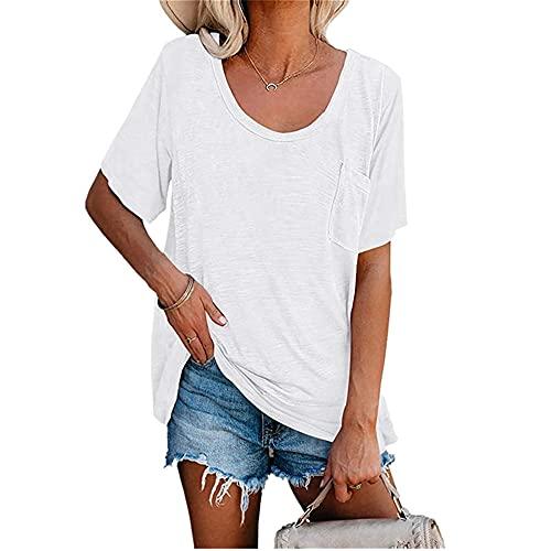 Camiseta de Manga Corta para Mujer Blusas y Blusas Casuales para Mujer Cuello Redondo de Verano Ligera Casual Suelta 2021 Tops Largos Camisas Blusas Camisetas Camiseta para Mujer Color sólido Básico