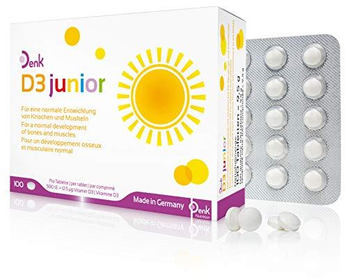 D3 junior Denk - Vitamin D für Säuglinge und Kleinkinder - Nahrungsergänzung ab der Stillzeit - 100 Tabletten