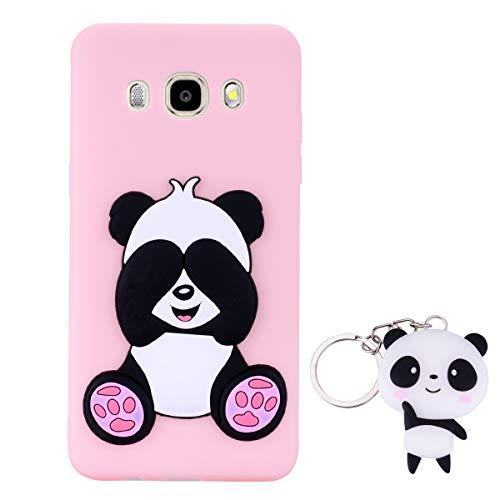 HopMore Panda Cover per Samsung Galaxy J7 2016 (J710) Silicone Morbide Disegni 3D Divertenti Gomma Morbido Custodia Samsung J7 2016 Antiurto Protettiva Case Caso Molle con Portachiavi - Rosa