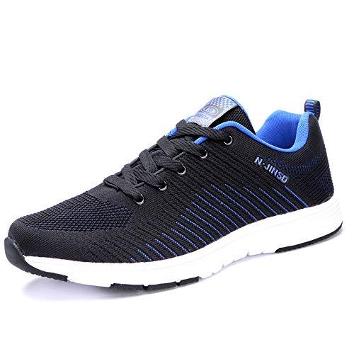FHKL Herren Sneakers Extra Große Code 48 Laufschuhe Fliegend Gewebt Oberfläche Atmungsaktiv Lässig Trend Herrenschuhe,Blacksapphireblue9191-46
