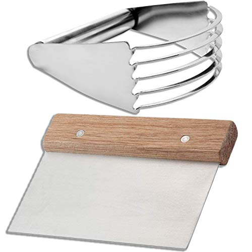 Pastry Cutter set – Dough Scraper and Blender Stainless Steel, Professional Quality Biscuit Blender, pie cutter, Heavy Duty Kitchen Baking Tools, for commercial and home use.