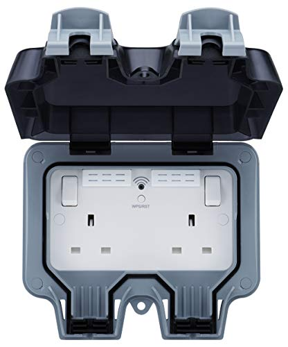 BG Elektrische Dubbele Weerbestendige Outdoor Geschakelde Power Socket met Wi-Fi Repeater, IP66 Rated, 13 Amp