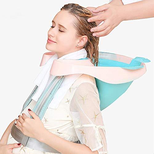 KKJKK Portátil Lavabo de Lavado de Cabello Bandeja de Enjuague Plegable Lavabo de Champú Lavabo con Tubo de Drenaje, Ayudas para El Lavado del Cabello por Mujeres Embarazadas Anciano Discapacitado