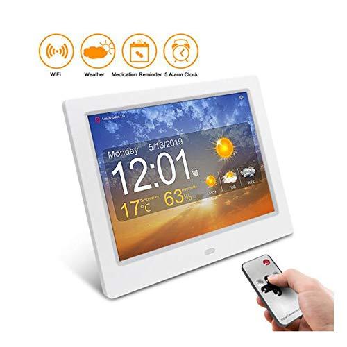 HUA-Digitale wekker 8 Inch Weerstation Klok voor de Ouderen, Wereldwijde Weersvoorspelling, Kalender Alarm Klok met 8 Talen