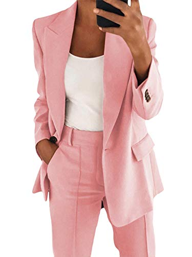 Onsoyours Blazer Mujer Talla Grande Chaqueta Cardigan Elegante Slim Fit Casual OL Oficina Negocios Rosa L