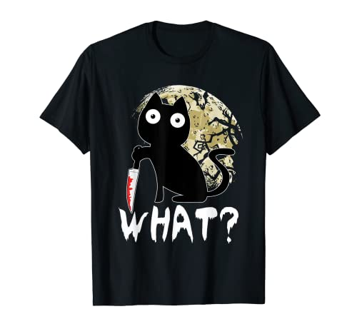 Qu? Gato Negro Gato Asesino Con Cuchillo Halloween Camiseta