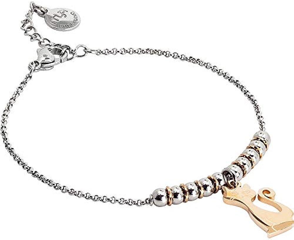 Boccadamo, bracciale per donna,in acciaio rodiato e gatto pendente placcato oro rosa SA/BR34