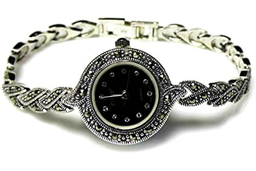 CHXISHOP Reloj de pulsera para mujer de plata de ley 925 con incrustaciones de cristal Zircon reloj exquisito pulsera de moda reloj de cuarzo, negro