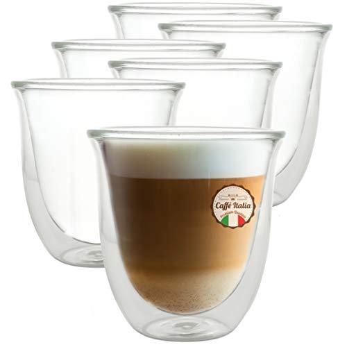 Caffé Italia Napoli 6 x 250 ml Doppelwandige Gläser - Thermogläser für Cappuccino Tee Heiß- und Kaltgetränke - spülmaschinengeeignet