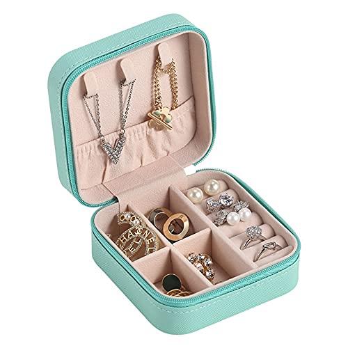 FACHA Caja de almacenamiento de joyería unisex para viajes, joyería portátil, pendientes de cuero, estante de almacenamiento (color: azul, tamaño: 10 x 10 x 5 cm)