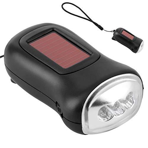 Torcia solare, manovella Torcia elettrica ricaricabile ad energia solare Generatori manuali Torcia di emergenza Torcia a dinamo di emergenza a LED per campeggio all'aperto (3,5x2 pollici)
