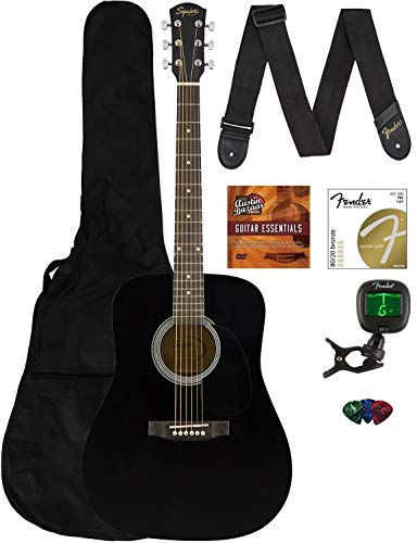 Fender Squier Dreadnought Acoustic Guitar - Black Bundle with Gig Bag, Tuner, Strap, Strings, Picks, and Austin Bazaar Instructional DVD