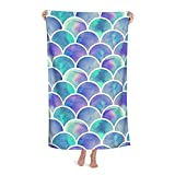 Mermaid Beach Towel, Mermaid Scale Pattern Soft Luxury Bath Towels for Girls Adults Kids, Quick Dry Pool Towel Blanket Highly Absorbent Lightweight Towel for Swimming Travel Camping 52
