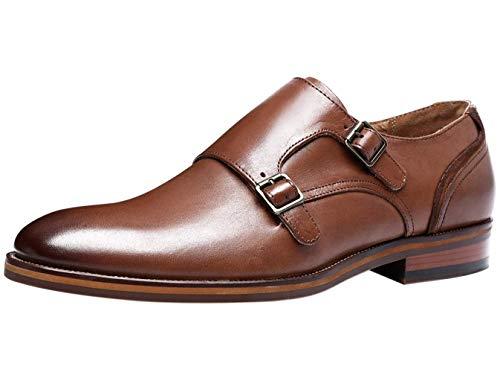 Zapatos Piel para Hombre sin Cordones Clásicos Doble Hebilla Monk Mocasines Negocios Zapatos de Vestir de Boda Marrón 39 EU