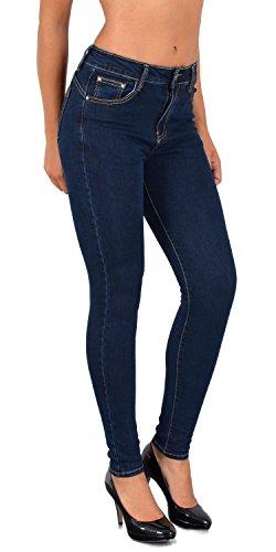 ESRA Damen Jeans Jeanshose Damen Skinny Jeanshosen Pushup Hose bis Übergröße S900