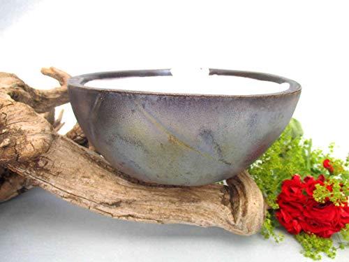 Schmelzlicht Keramik metallic Outdoor, Kerzenfresser, Wachsfresser, zum Schmelzen von Kerzenresten, Tischfackel, Kerzen Recycling, Gartenfackel, ca. 14x6,5 cm, mit windfestem Dauerdocht, Handarbeit