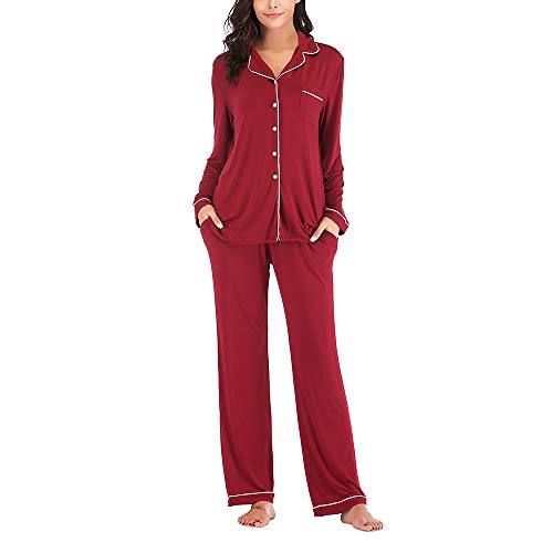 Fansu Elegante Cuello V Vestidos de Casa, Camisón Mujer Verano Pijama Camisón de Noche Camisones de Manga largaa Talla Grande Ropa de Noche +Nueve Puntos Pantalones (XL,Rojo)