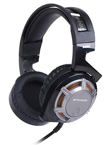 LAOSHIPAI Casque de Jeu Microphone HD Casque à réduction de Bruit Intelligente Casque à Interface Subwoofer USB-Black