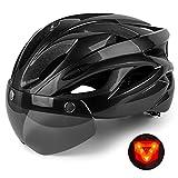 Shinmax Casco Bici con Luce di LED,Certificato CE, Casco con Visiera Magnetica Staccabile Shield Casco da Bici...