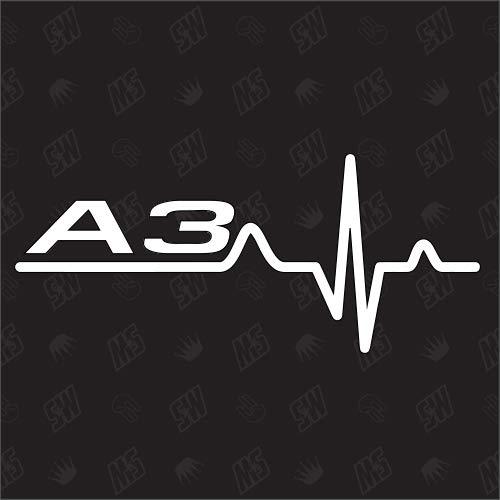 speedwerk-motorwear A3 Herzschlag - Sticker kompatibel mit Audi