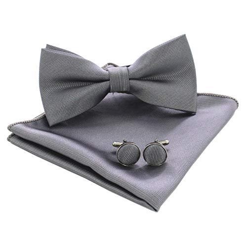 JEMYGINS Flache Grau Textur Fliege Einfarbig und Einstecktuch mit Manschettenknöpfe Sets für Herren(8)