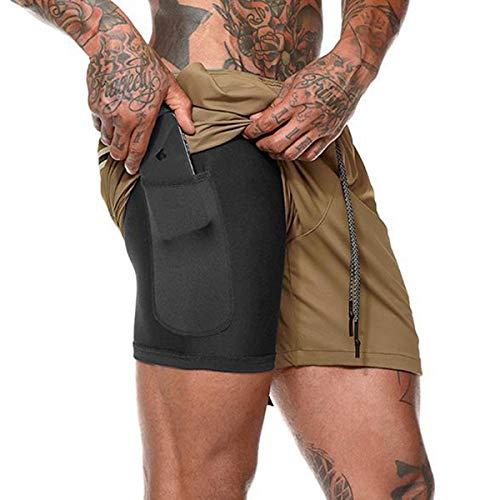 Yidarton Shorts Herren Sport Sommer 2 in 1 Kurze Hosen Schnelltrocknende Laufshorts Fitness Joggen und Training Sporthose mit Taschen (175-Khaki, Medium)
