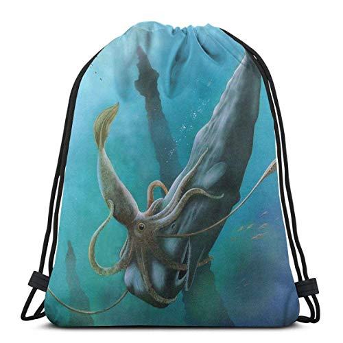 Mochila de perro marrón con cordón para huesos y patas con cordón para gimnasio, bolsa de cincha, bolsa de cadena gigante de calamares lucha contra el tiburón