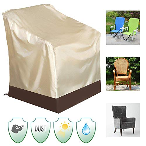 Furniture Covers Waterproof High Back Chair Cover for Outdoor Patio Yard Furniture Protection 84x67x73CM Patio Furniture Protective Cover Cover for Garden ( Color : Beige , Size : 84x67x73cm )