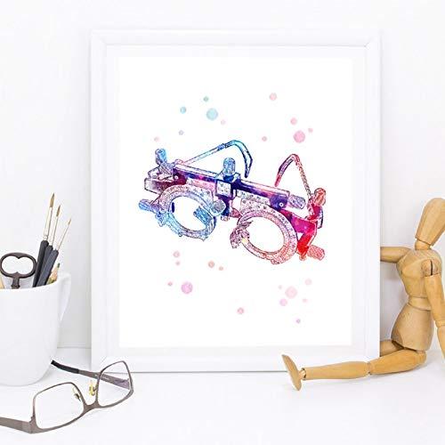 QAZEDC Leinwand Gemälde Versuchsrahmen Optometrische Werkzeuge Kunst Optische Poster, Optometrie Instrument Malerei Augenklinik Optiker Arzt Büro Dekor 60x80cm