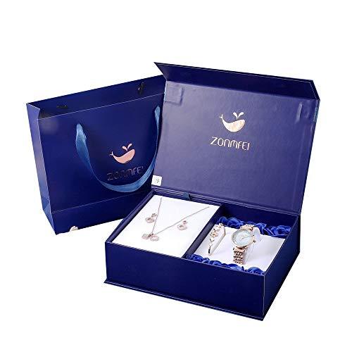 YIBOKANG Juego De 4 Piezas Azul Encantadora De Lujo De Lujo, Dios De La Mujer, Reloj Colgante Collar Pulsera Pendientes Conjunto Moda Casual Impermeable Delicado Regalo De Moda Reloj De Moda