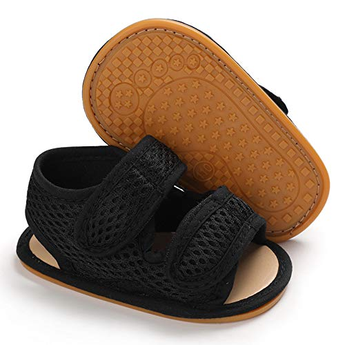 Baby Boys Girls Sandals Premium Soft Anti-Slip Rubber Sole Infant Summer Outdoor Shoes Toddler First Walkers (6-12 Months Infant, 1-Black)