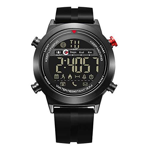 HaiQianXin Intelligente Armband-Sportuhr Bluetooth 4.0 Schrittzähler-Kalorien-Wecker-Armbanduhr wasserdicht mit EL-Hintergrundbeleuchtung (Color : Silver)