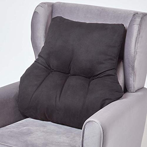 HOMESCAPES Black Support Cushion Thick Lumbar Cushion for Armchair, Desk Chair or Sofa Soft Faux Suede Orthopaedic Posture Cushion, 15cm Deep