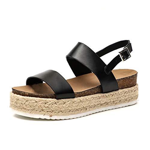 Sandalias Mujer Cuña Piel Plataformas Alpargatas Punta Abierta 5 CM Tacon Verano Tobillo Hebilla Zapato de Playa Moda Fiesta Negro Marrón Blanco Beige Serpiente 35-43