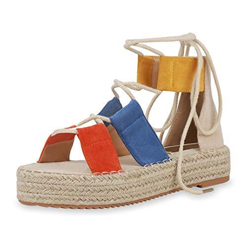 SCARPE VITA Damen Plateau Sandaletten Sommerschuhe Bast Schuhe Lace Up Sandalen Schnürer Metallic Plateauschuhe 193478 Orange Blau Dunkelgelb 38
